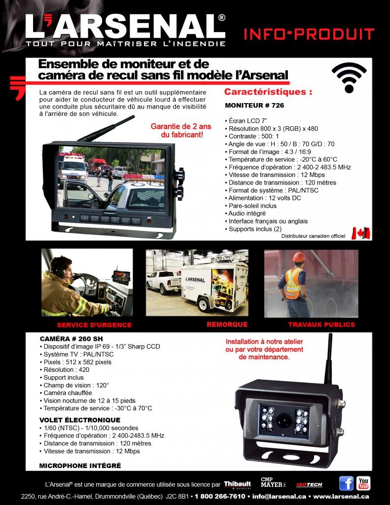Info-produit caméra de recul sans fil