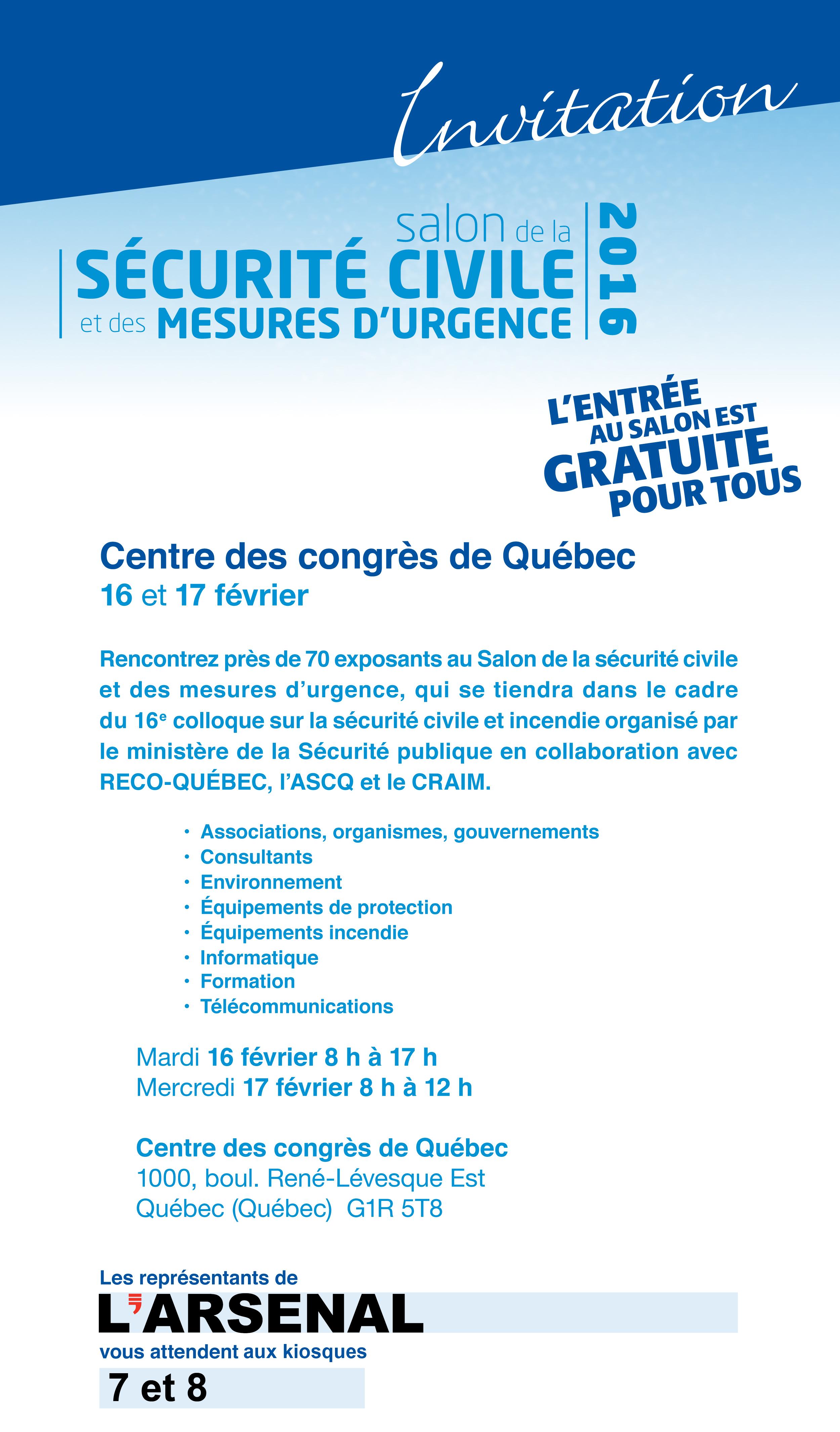 Salon de la s curit civile et des mesures d urgence 2016 - Salon de l agriculture invitation gratuite ...